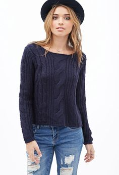 Boxy Cable Knit Sweater - Sweatshirts & Knits - 2000119914 - Forever 21 EU