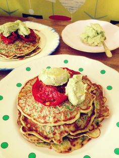 A Lot On Her Plate - Kale and coriander pancakes with avocado butter and roasted tomato - A Lot On Her Plate