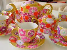Hand-painted porcelain tea set by Nini Violette
