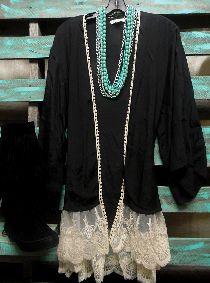 Black Vintage Lace Crochet Kimono Coverup