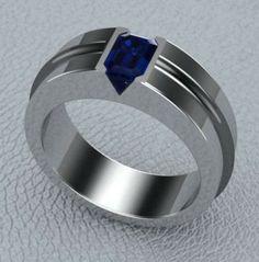 CAD CAM Mens Platinum Blue Sapphire Wedding Band.....Radiant Cut Burma Blue