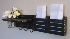 Shabby Chic Nautical Beach Cottage Flower Vase Key ring Mail holder Organizer Shelf Coat Towel Hat Rack Hanger Hooks in Distressed Black on Etsy, $39.95