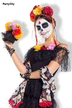 Channel the dead as a fiery soul returned to earth in the Calavera Caliente Day of the Dead costume. This costume's foundation is a black dress with cascading tiers of lace, a floral headband, and a flower bouquet. Upgrade the costume with extras, like jewelry or sugar skull makeup, to perfect the look of undying beauty. Adult Costumes, Halloween Costumes, Skeleton Girl, Sugar Skull Makeup, Floral Headbands, Get The Party Started, Party Stores, Costume Ideas, Foundation