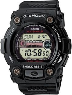 Casio G-Shock Solar G Rescue Radio Controlled Black Watch GW-7900-1 ER:  A stylish and durable watch, with radio control and a moon age and tide graph display. This watch also includes a world time, yacht timer, auto illuminator and stopwatch and timer.