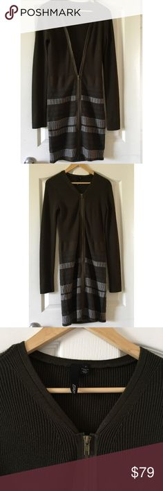 100% Wool Long Cardigan Sweater Zippered Olive 🍁Ready for fall with this beautiful Cozy Sweater . 100% wool can be used with Slim jeans with boots for thats fall look . 🍁Can also be used as a sweater dress . So versatile can be mixed up with different styles . One of a kind from Edun . IN EXCELLENT CONDITION 🍁Forest Green w Gray EDUN Sweaters Cardigans
