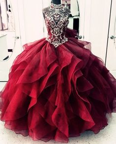 High Neck Crystal Beaded Bodice Corset Organza Layered Quinceanera Dresses Ball Gowns : maroon quinceanera dresses ball gowns for girl sweet 16 party Quince Dresses, Ball Dresses, Ball Gowns, Prom Dresses, Dress Prom, Bride Dresses, Formal Evening Dresses, Elegant Dresses, Pretty Dresses