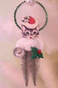BLACK CAT Halloween spun cotton BOY in Victorian style cone vintage style spun cotton cat 10