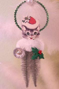 Christmas Kitty Vintage Style Feather Tree Ornament