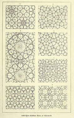Indo-Syro-Arabian knot network - Moorish Remains in Spain - Albert F. Geometric Patterns, Geometric Designs, Textures Patterns, Geometric Shapes, Pattern Texture, Pattern Art, Pattern Design, Islamic Art Pattern, Arabic Pattern