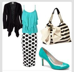 This Fancy Church Outfit Is So Cute! A Black&White With Blue Outfit