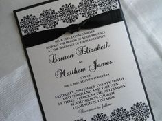 La elegancia en su máxima expresión. Invitaciones de Boda en Blanco y Negro. Imagen: Indelible Impressions para Etsy