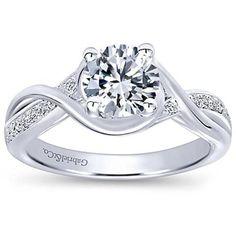 "Gabriel 14K White Gold ""Bailey"" Twist Bypass Diamond Engagement Ring"