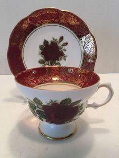 "Vintage Rosina Bone China ""English Roses"" Footed Tea Cup and Saucer"