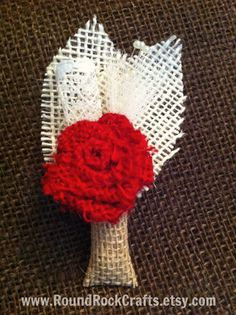 Custom Burlap Boutonniere/Corsage  Single Rose by RoundRockCrafts, $10.00