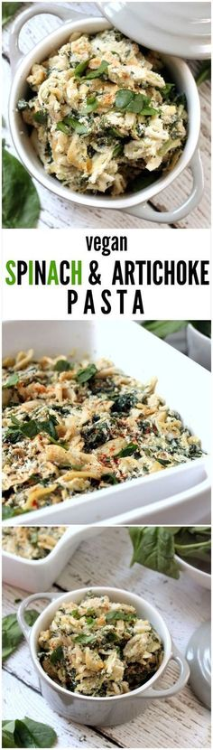 Vegan Spinach & Artichoke Pasta---A deliciously creamy and decadent pasta bake that tastes just like spinach and artichoke dip without all the guilt! This vegan, gluten-free, kid-friendly recipe will have the whole family asking for seconds. Vegan Foods, Vegan Dishes, Vegan Vegetarian, Vegetarian Recipes, Healthy Recipes, Vegetable Recipes, Healthy Meals, Healthy Food, Vegan Meals