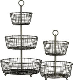 Tiered Baskets    Crate and Barrel- for on top of the desk as a smaller catch all
