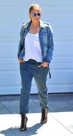 Jennifer Lopez in McGuire denim jacket #summer