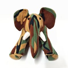 ELEPHANT Plush Green Brown Tan Camouflage by BUGODILE on Etsy