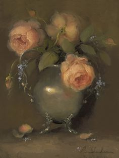 """Old Garden Roses""  Oil on Linen  9x12"
