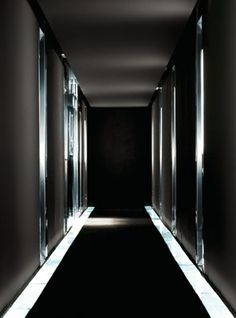 Black rubber-lined futurist corridor at the Omm Hotel in Barcelona, Spain. #hotelomm #roomcritic