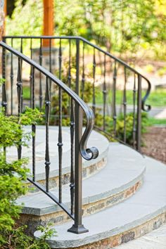 Terrace railings, stair railings and walkway railings provide code-compliant safety and rigidity while allowing your unique design style further opportunity for visual enrichment. Painted Stair Railings, Wrought Iron Porch Railings, Porch Handrails, Exterior Stair Railing, Outdoor Stair Railing, Iron Handrails, Balcony Railing Design, Patio Steps, Outdoor Steps