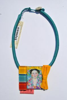 Aqua green statement necklace with medailllon with Klimt
