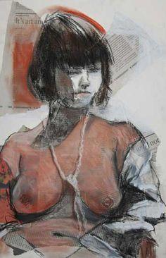 Alison Lowe Platt, Inward Thinking, Collage Mixed Media, TAG Gallery, Santa Monica Figure Painting, Figure Drawing, Girl Model, Santa Monica, Figurative Art, Contemporary Art, Mixed Media, Art Gallery, Collage