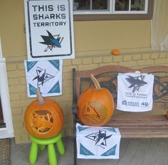 Tom's house is decked out in #SharksTerritory and #SJSharks decorations for Halloween.