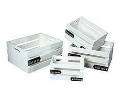 Set de 4 cajas en madera de paulonia Rustic - blanco