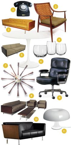 some furniture inspirations... 5 = boxy set Simplaform+Futurama, 10 = Goetz Sofa by Herman Miller... more information: http://woonblog.typepad.com/woonblog/2012/02/madmen-furniture-interior.html#