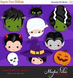 50% OFF SALE Halloween Faces Clipart. Halloween graphics, Frankenstein, bride of Frankenstein, mummy, pumkin, Dracula, black cat, witch, Dev