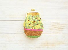 Kiss lock coin purse mini tiny wallet pouch clip frame change purse tree sunflowers hearts green yellow brown orange cotton gold frame gift by poppyshome on Etsy