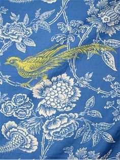 "Charlton Toile Bluebell.  Colonial Williamsburg Fabric - 100% fine cotton toile with metalic embroidered bird. Beautiful decorative drapery or pillow fabric. 27"" up the roll repeat. H 27"" V 13.5"". 54"" wide."