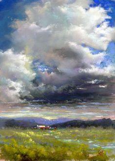Change in the Weather - pastel by Sharon Fox Cranston - SOLD Pastel Landscape, Landscape Art, Landscape Paintings, Landscapes, Watercolor Landscape, Soft Pastel Art, Pastel Artwork, Pastel Paintings, Horse Paintings