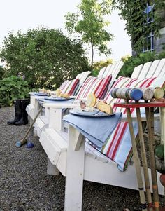 Make pillows like this for the chairs & the swing, love the extra fabric, so much more relaxed than piping.  Saw similar fabric in Jo-Anne's today.