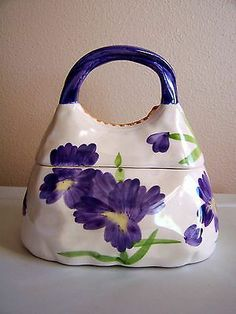 Ceramic Handbag Purse Cookie Jar Purple Flowers by Chickens & Roosters Co - USA