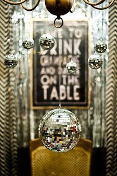 It's no secret that I'm OBSESSED with the idea of a New Year's Eve wedding, so these four party ideas were pinned with that in mind—but really, they'd work for a glitzy, glittery wedding any time of year! 1. Sparkly swizzle sticks! (Bonus points if you get glittery gold coasters, too!) Source: theglitterguide.com via Kimberly on Pinterest 2. Two words: Disco Balls! I think they're TOTALLY wedding-worthy here! Source: lucysinspired.com via Kimberly on Pinterest 3. Dress up plain ...