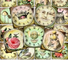 CLoCK BLoCKs 2 x 2 inch vintage image squares CiRCuS OWL BiRDs digital collage sheet download printable sh22a