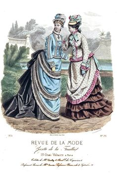 1874 Revue de la Mode 1870s Fashion, Ol Fashion, Edwardian Fashion, Fashion History, Vintage Fashion, Vintage Gowns, Mode Vintage, Victorian Costume, Victorian Era
