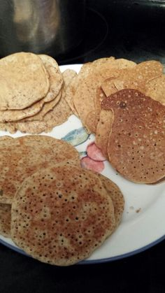 Almond pancakes- wild rose detox- accompanied with unsweetened apple sauce or almond butter