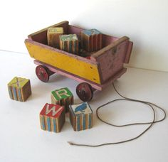 Vintage Wood Pull Toy Wagon With Vintage Wood Blocks, Home And Living Home Decor