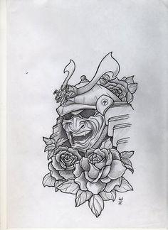 Samurai Mask Tattoo Design photo - 1