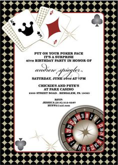 casino theme invitation for birthday party, casino/game night, Party invitations