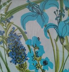 Vera Neumann Lillies Blue Floral Tablecloth 60 x 84 in for sale online Tablecloths For Sale, Tablecloth Rental, Floral Tablecloth, Cloth Napkins Bulk, Cloth Napkin Folding, Neumann, Dining Table In Kitchen, Buttonholes, Table Linens