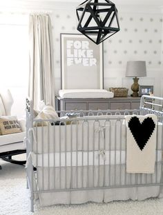 pale gray, white and black nursery design