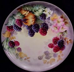 Haviland Limoges Charger Decorated With Hand Painted Raspberries - Haviland Factory Mark In Green    c.1910