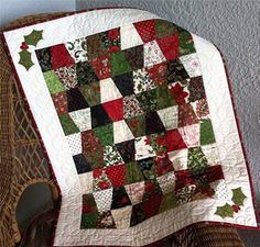 "@accuquilt loves to make your holidays FUN! Make a quilt like this SEW QUICKLY! Order the GO! Tumbler 4"" finished die and the GO! Holiday Medley Dies."