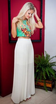 saia-longa-cropped-top-malha-estampada Casual Chic Outfits, Maxi Outfits, Style Casual, Boho Outfits, Spring Outfits, Fashion Outfits, Dress Skirt, Bodycon Dress, Fiesta Outfit