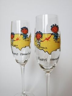 Hand Painted Toasting Flutes Set Of 2 Personalized Champagne Glasses Friendship From Different Places $68