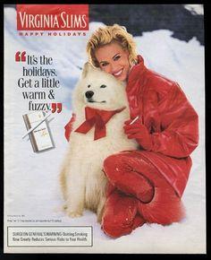 1996 Samoyed VERY CUTE photo Virginia Slims Christmas vintage print ad